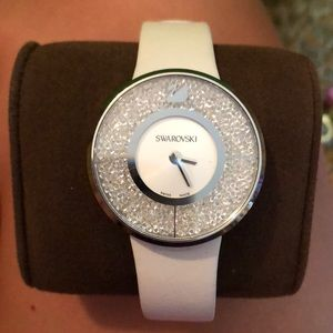 Swarovski crystal watch with white band
